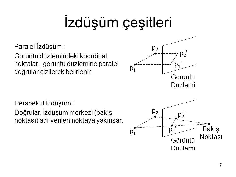7 İzdüşüm çeşitleri Paralel İzdüşüm : Görüntü düzlemindeki koordinat noktaları, görüntü düzlemine paralel doğrular çizilerek belirlenir. Perspektif İz