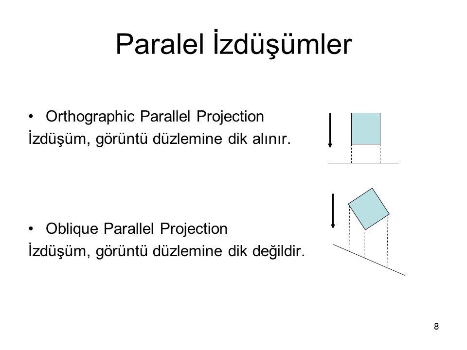8 Paralel İzdüşümler Orthographic Parallel Projection İzdüşüm, görüntü düzlemine dik alınır. Oblique Parallel Projection İzdüşüm, görüntü düzlemine di