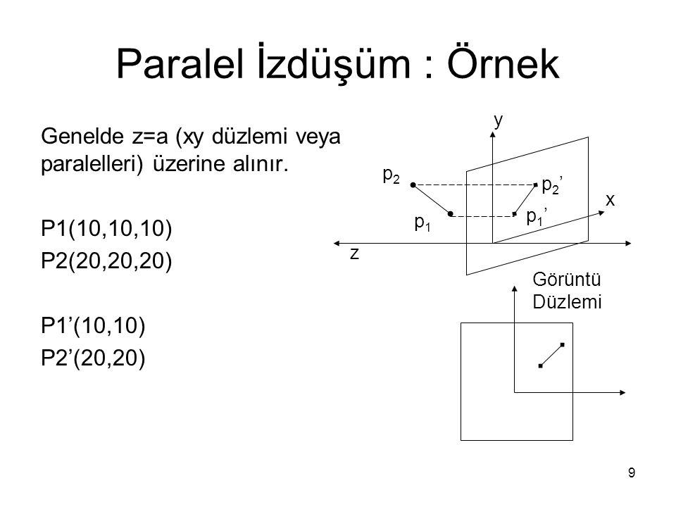 9 Paralel İzdüşüm : Örnek Genelde z=a (xy düzlemi veya paralelleri) üzerine alınır. P1(10,10,10) P2(20,20,20) P1'(10,10) P2'(20,20) p1p1 p2p2 p1'p1' p