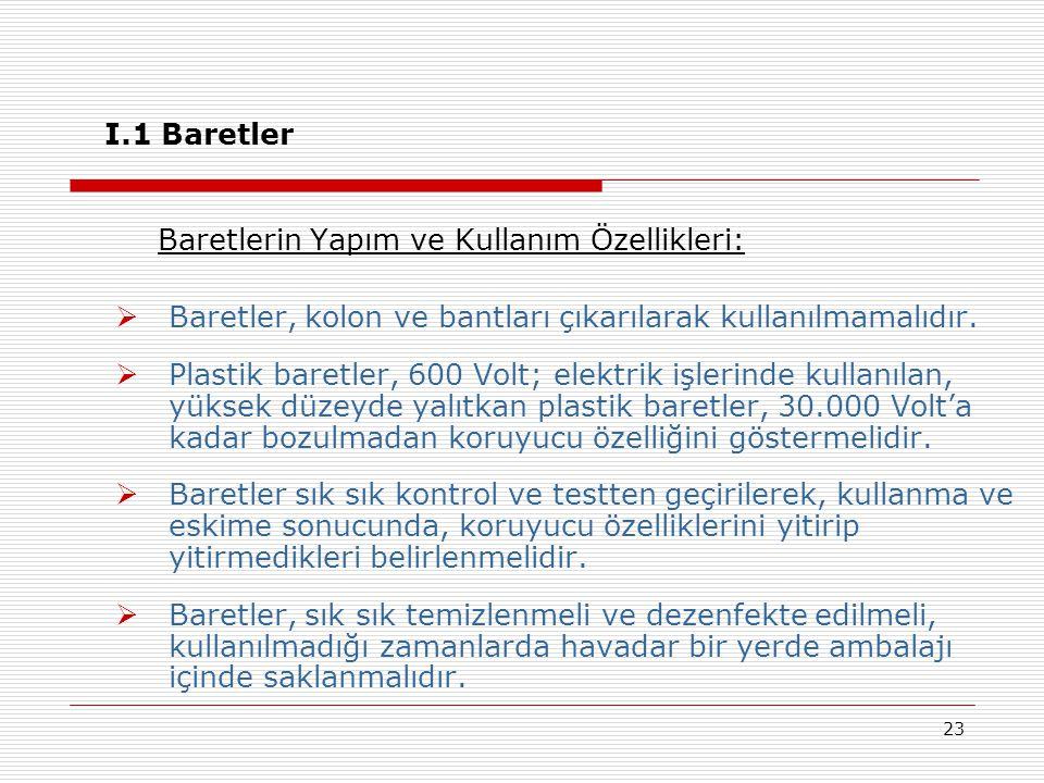 23 I.1 Baretler Baretlerin Yapım ve Kullanım Özellikleri:  Baretler, kolon ve bantları çıkarılarak kullanılmamalıdır.  Plastik baretler, 600 Volt; e