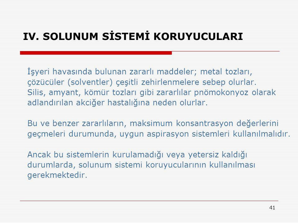 41 IV. SOLUNUM SİSTEMİ KORUYUCULARI İşyeri havasında bulunan zararlı maddeler; metal tozları, çözücüler (solventler) çeşitli zehirlenmelere sebep olur