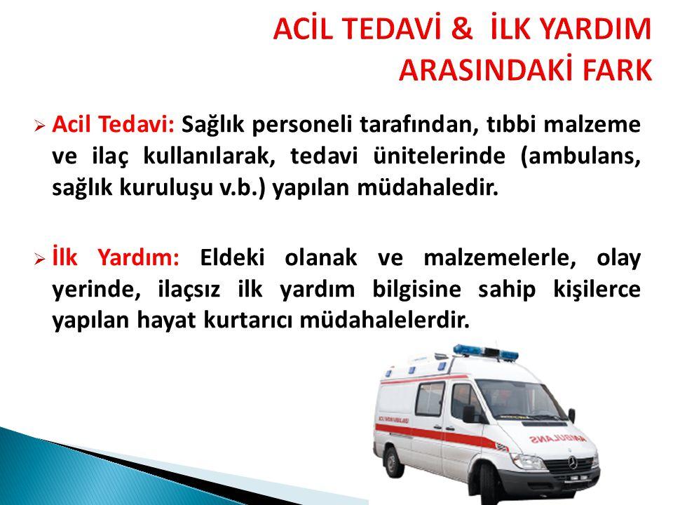 ACİL TEDAVİ & İLK YARDIM ARASINDAKİ FARK  Acil Tedavi: Sağlık personeli tarafından, tıbbi malzeme ve ilaç kullanılarak, tedavi ünitelerinde (ambulans, sağlık kuruluşu v.b.) yapılan müdahaledir.