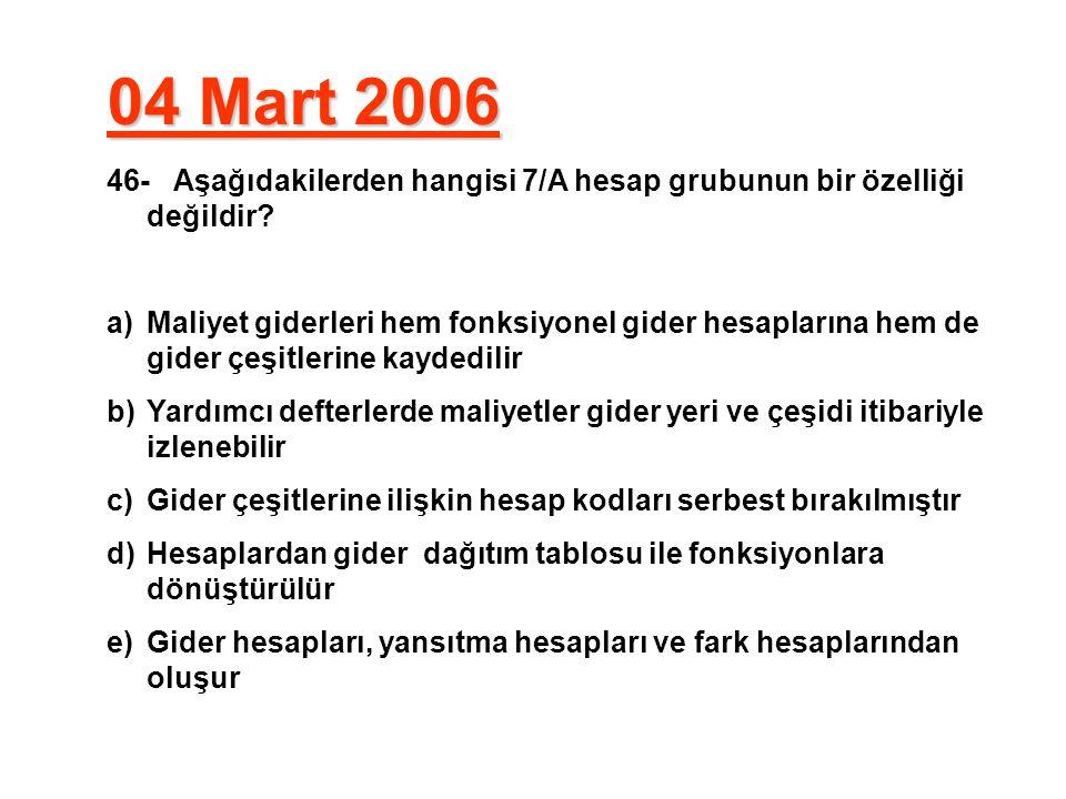 04 Mart 2006 46- Aşağıdakilerden hangisi 7/A hesap grubunun bir özelliği değildir? a)Maliyet giderleri hem fonksiyonel gider hesaplarına hem de gider