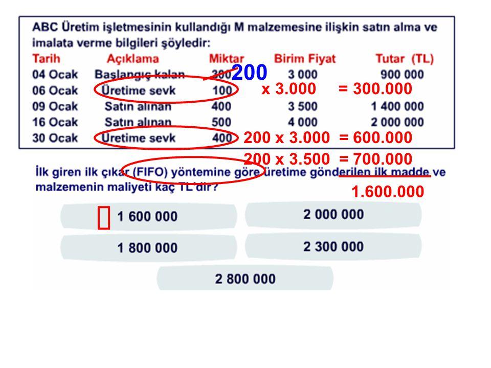 200 x 3.000 = 300.000 200 x 3.000 = 600.000 200 x 3.500 = 700.000 1.600.000