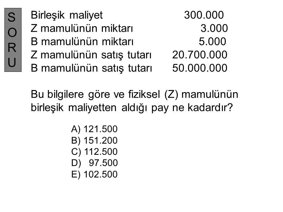 Birleşik maliyet 300.000 Z mamulünün miktarı 3.000 B mamulünün miktarı 5.000 Z mamulünün satış tutarı 20.700.000 B mamulünün satış tutarı 50.000.000 B