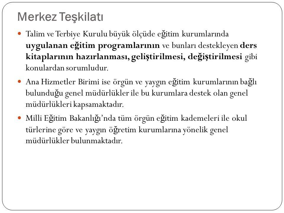 Türk Eğitim Sistemi 6 1973 yılında kabul edilen 21739 sayılı Milli E ğ itim Temel Kanunu'na göre, günümüz Türk e ğ itim sistemi, yaygın ve örgün olmak üzere iki temel bölümden olu ş maktadır.