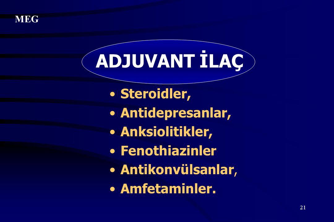 21 ADJUVANT İLAÇ Steroidler, Antidepresanlar, Anksiolitikler, Fenothiazinler Antikonvülsanlar, Amfetaminler. MEG