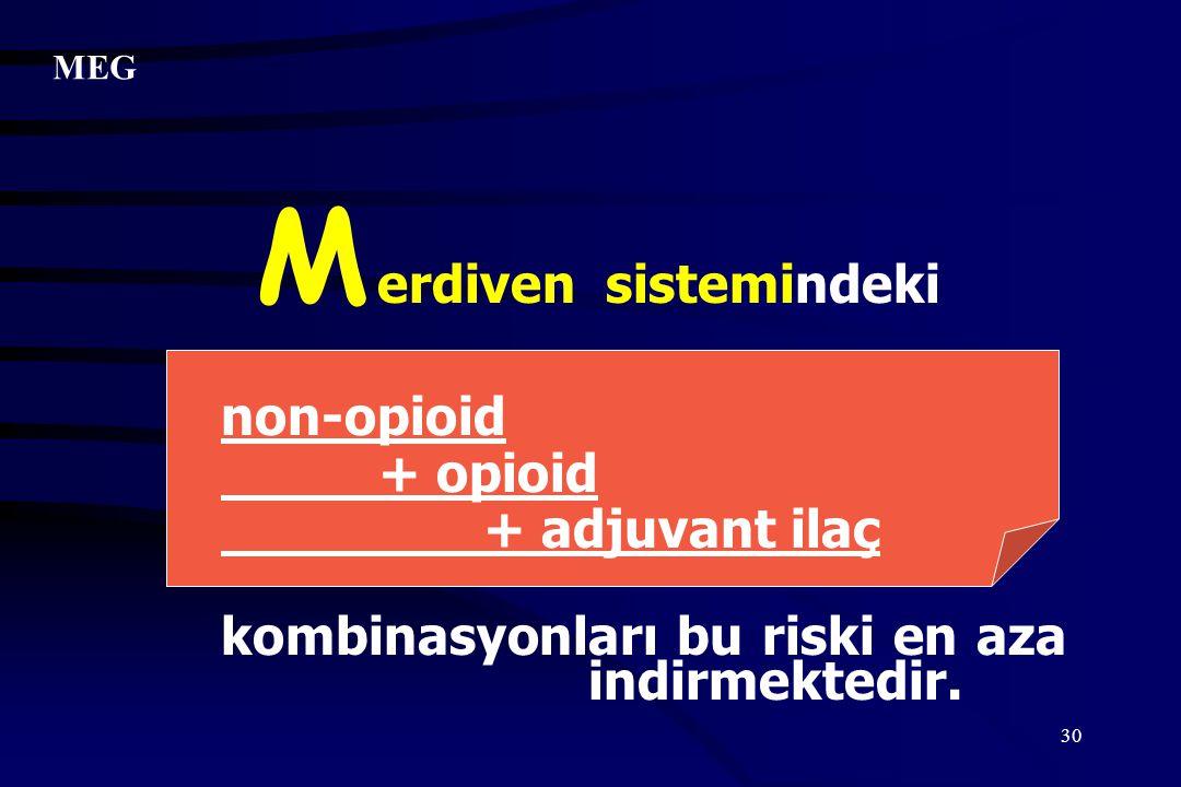 30 erdiven sistemindeki non-opioid + opioid + adjuvant ilaç kombinasyonları bu riski en aza indirmektedir. M MEG