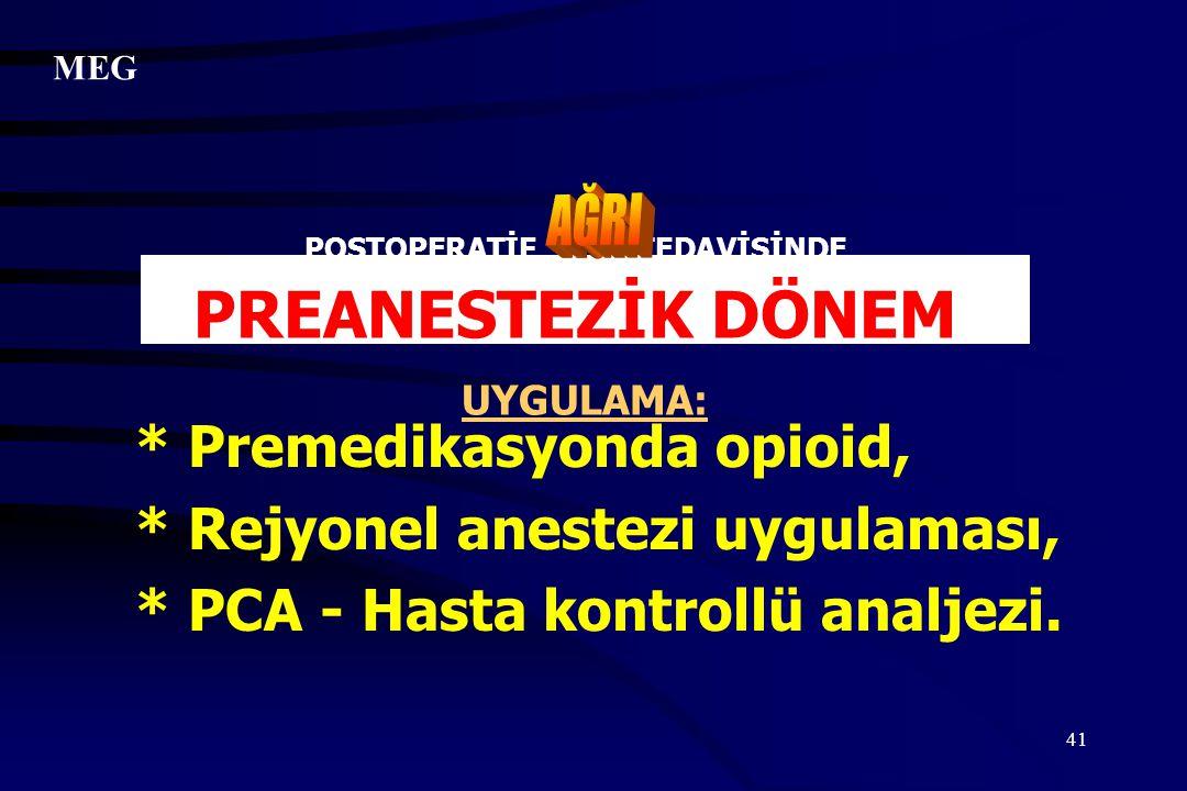 41 POSTOPERATİF TEDAVİSİNDE PREANESTEZİK DÖNEM UYGULAMA: * Premedikasyonda opioid, * Rejyonel anestezi uygulaması, * PCA - Hasta kontrollü analjezi. M