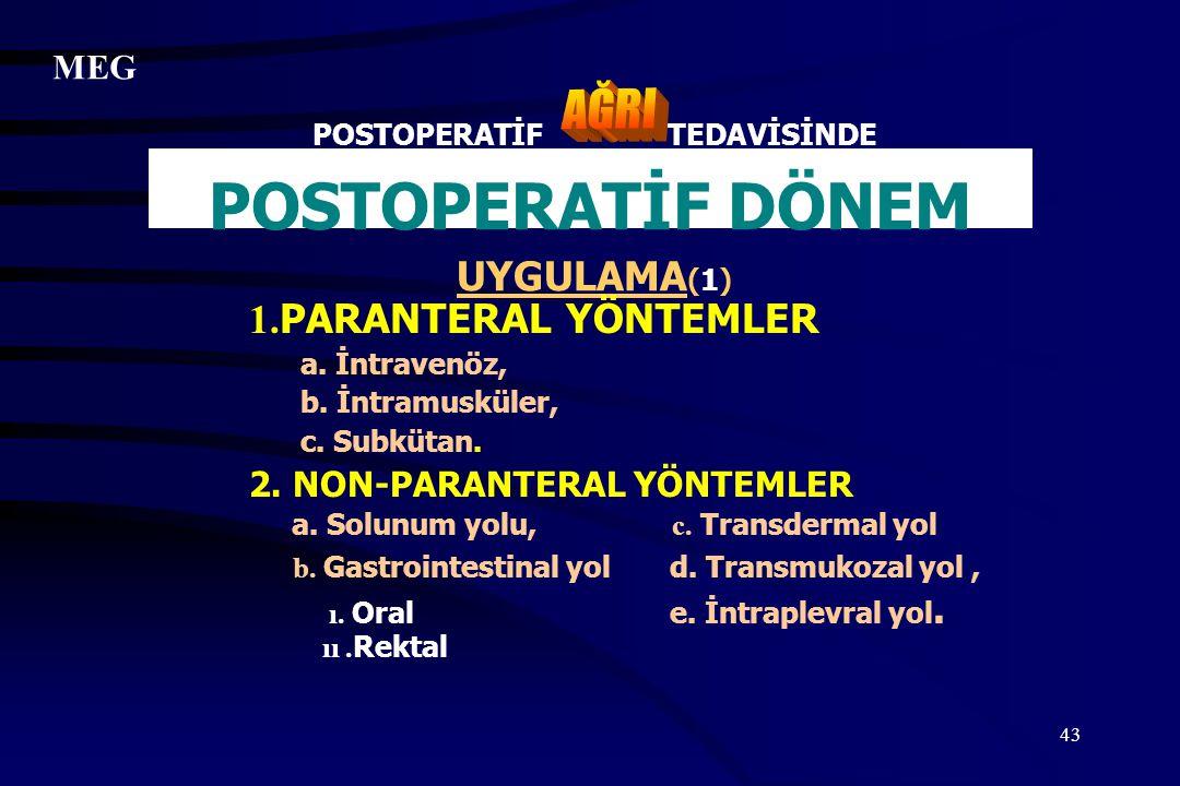 43 POSTOPERATİF TEDAVİSİNDE POSTOPERATİF DÖNEM UYGULAMA (1) 1. PARANTERAL YÖNTEMLER a. İntravenöz, b. İntramusküler, c. Subkütan. 2. NON-PARANTERAL YÖ