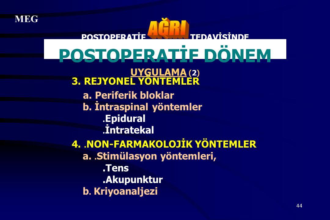 44 POSTOPERATİF TEDAVİSİNDE POSTOPERATİF DÖNEM UYGULAMA (2) 3. REJYONEL YÖNTEMLER a. Periferik bloklar b. İntraspinal yöntemler. Epidural. İntratekal