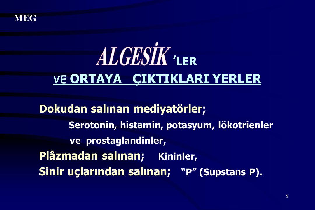 5 ' LER VE ORTAYA ÇIKTIKLARI YERLER Dokudan salınan mediyatörler; Serotonin, histamin,potasyum, lökotrienler ve prostaglandinler, Plâzmadan salınan; K