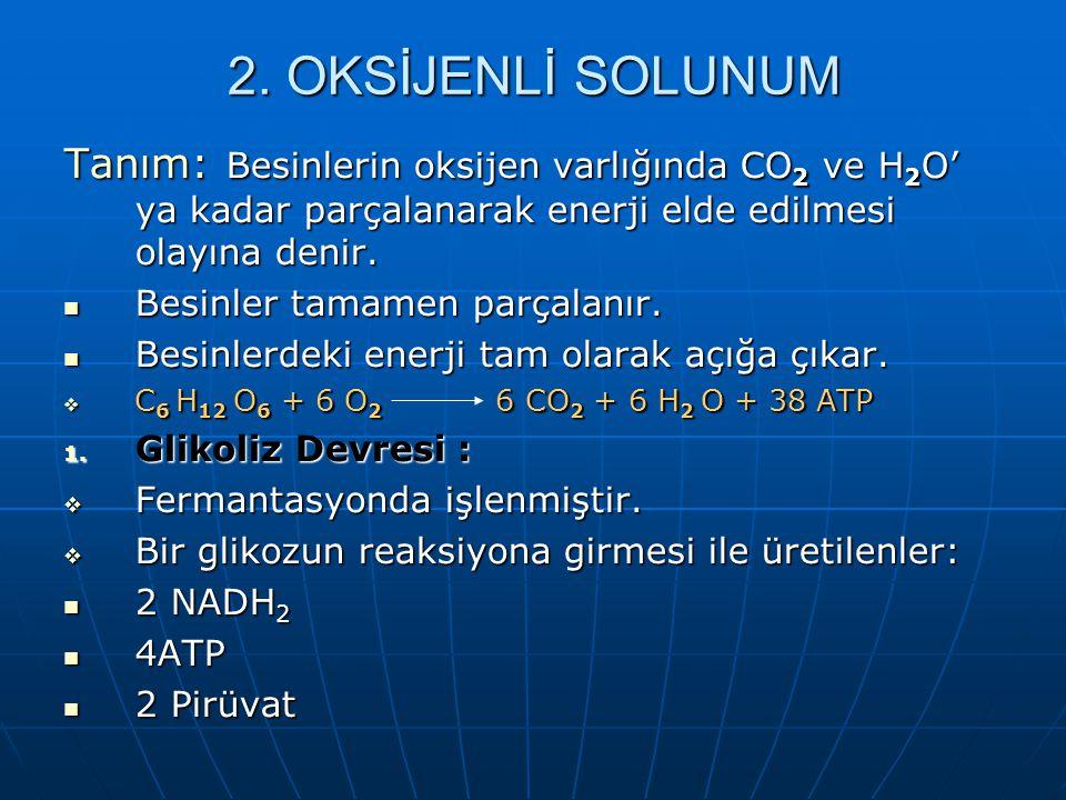 REAKSİYON BASAMAKLARI 1. GLİKOLİZ DEVRESİ: Tanım: Glikozun pirüvik aside (pirüvat) kadar parçalanması olayıdır. Oksijenli ve oksijensiz solunum yapan