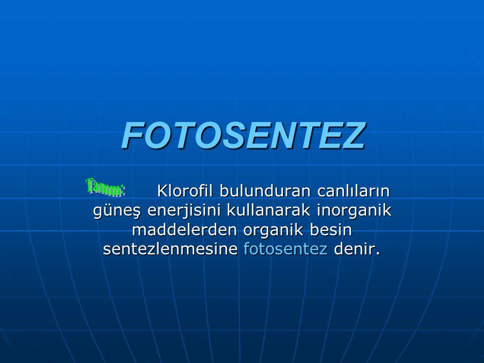 FOTOSENTEZ Klorofil bulunduran canlıların güneş enerjisini kullanarak inorganik maddelerden organik besin sentezlenmesine fotosentez denir.
