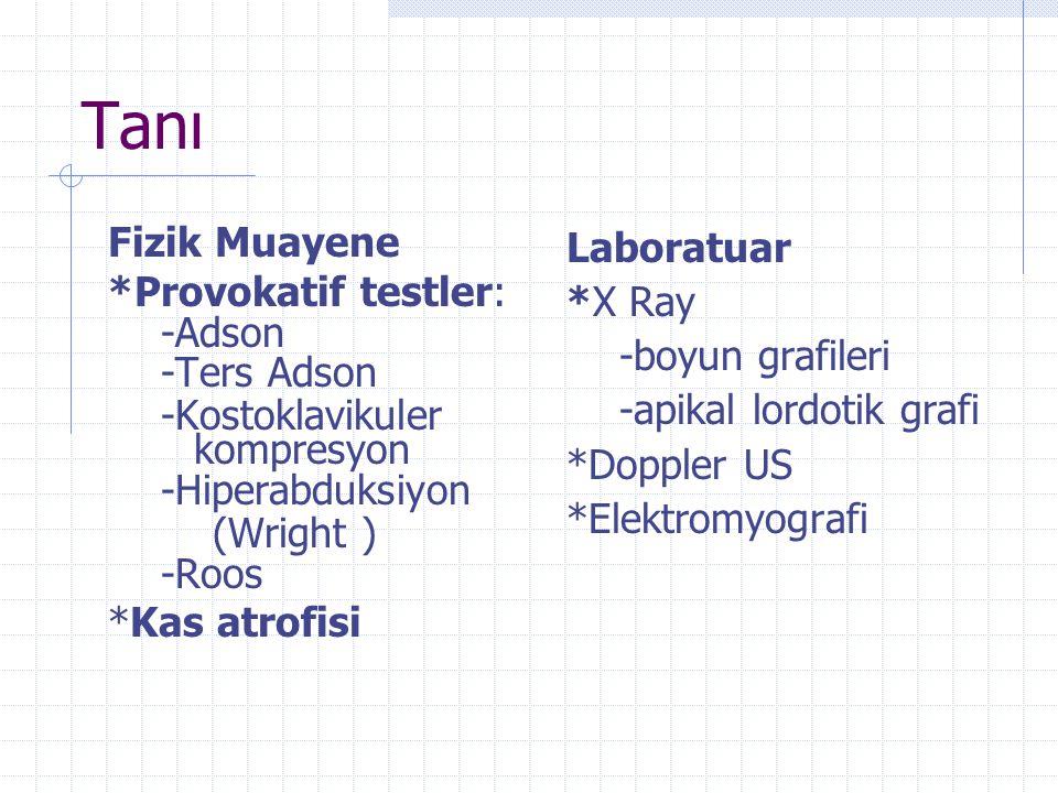 Tanı Fizik Muayene *Provokatif testler: -Adson -Ters Adson -Kostoklavikuler kompresyon -Hiperabduksiyon (Wright ) -Roos *Kas atrofisi Laboratuar *X Ra