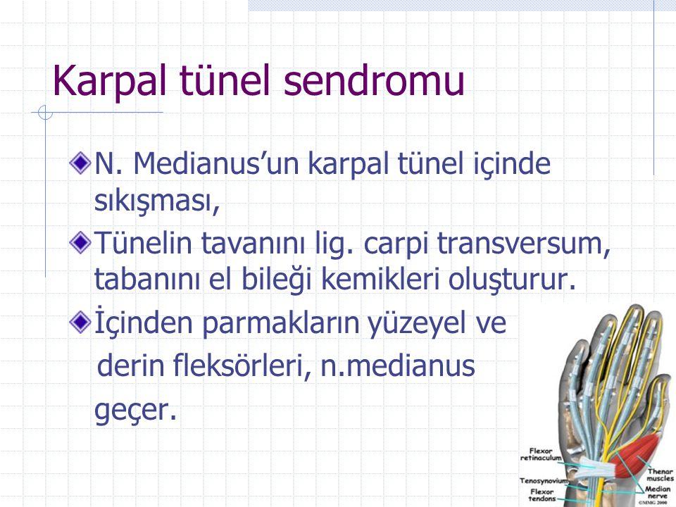 Karpal tünel sendromu N. Medianus'un karpal tünel içinde sıkışması, Tünelin tavanını lig. carpi transversum, tabanını el bileği kemikleri oluşturur. İ