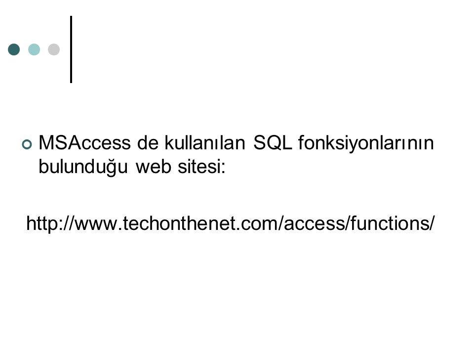 MSAccess de kullanılan SQL fonksiyonlarının bulunduğu web sitesi: http://www.techonthenet.com/access/functions/