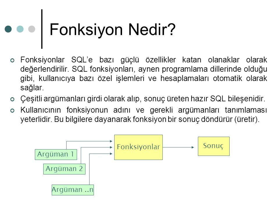 Fonksiyon Nedir? Fonksiyonlar SQL'e bazı güçlü özellikler katan olanaklar olarak değerlendirilir. SQL fonksiyonları, aynen programlama dillerinde oldu
