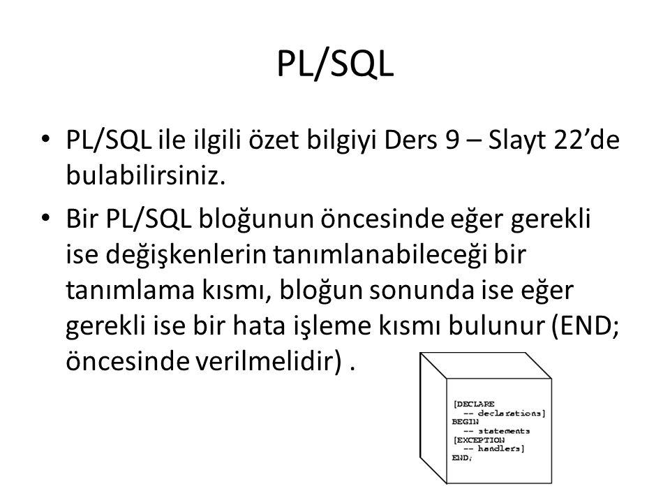 Örnek 2 PROCEDURE award_bonus (emp_id NUMBER) IS bonus REAL; comm_missing EXCEPTION; BEGIN SELECT comm * 0.15 INTO bonus FROM emp WHERE empno = emp_id; IF bonus IS NULL THEN RAISE comm_missing; ELSE UPDATE payroll SET pay = pay + bonus WHERE empno = emp_id; END IF; EXCEPTION WHEN comm_missing THEN...