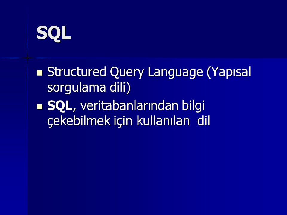 SQL Structured Query Language (Yapısal sorgulama dili) Structured Query Language (Yapısal sorgulama dili) SQL, veritabanlarından bilgi çekebilmek için kullanılan dil SQL, veritabanlarından bilgi çekebilmek için kullanılan dil