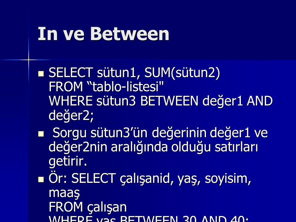 In ve Between SELECT sütun1, SUM(sütun2) FROM tablo-listesi WHERE sütun3 BETWEEN değer1 AND değer2; SELECT sütun1, SUM(sütun2) FROM tablo-listesi WHERE sütun3 BETWEEN değer1 AND değer2; Sorgu sütun3'ün değerinin değer1 ve değer2nin aralığında olduğu satırları getirir.