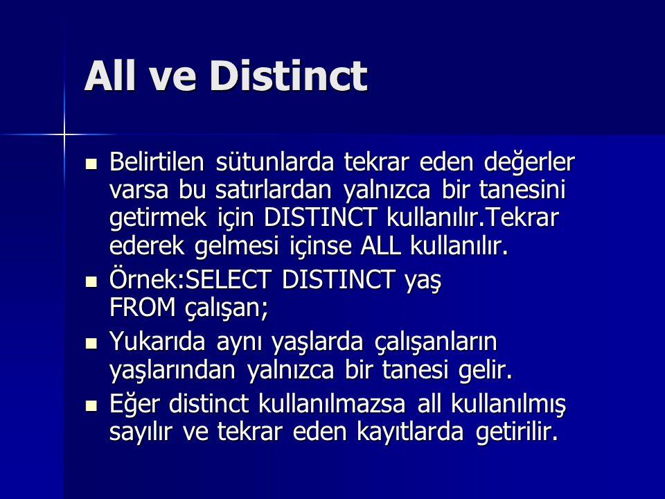 All ve Distinct Belirtilen sütunlarda tekrar eden değerler varsa bu satırlardan yalnızca bir tanesini getirmek için DISTINCT kullanılır.Tekrar ederek gelmesi içinse ALL kullanılır.