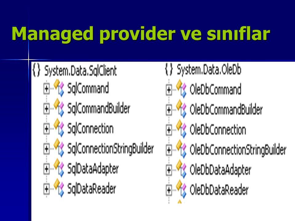Managed provider ve sınıflar