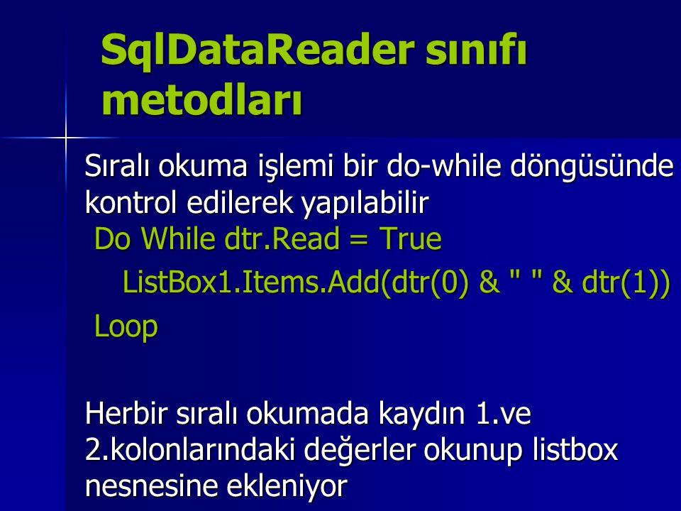 SqlDataReader sınıfı metodları Sıralı okuma işlemi bir do-while döngüsünde kontrol edilerek yapılabilir Do While dtr.Read = True ListBox1.Items.Add(dt