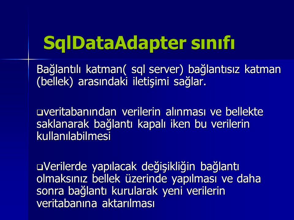 SqlDataAdapter sınıfı Bağlantılı katman( sql server) bağlantısız katman (bellek) arasındaki iletişimi sağlar.  veritabanından verilerin alınması ve b