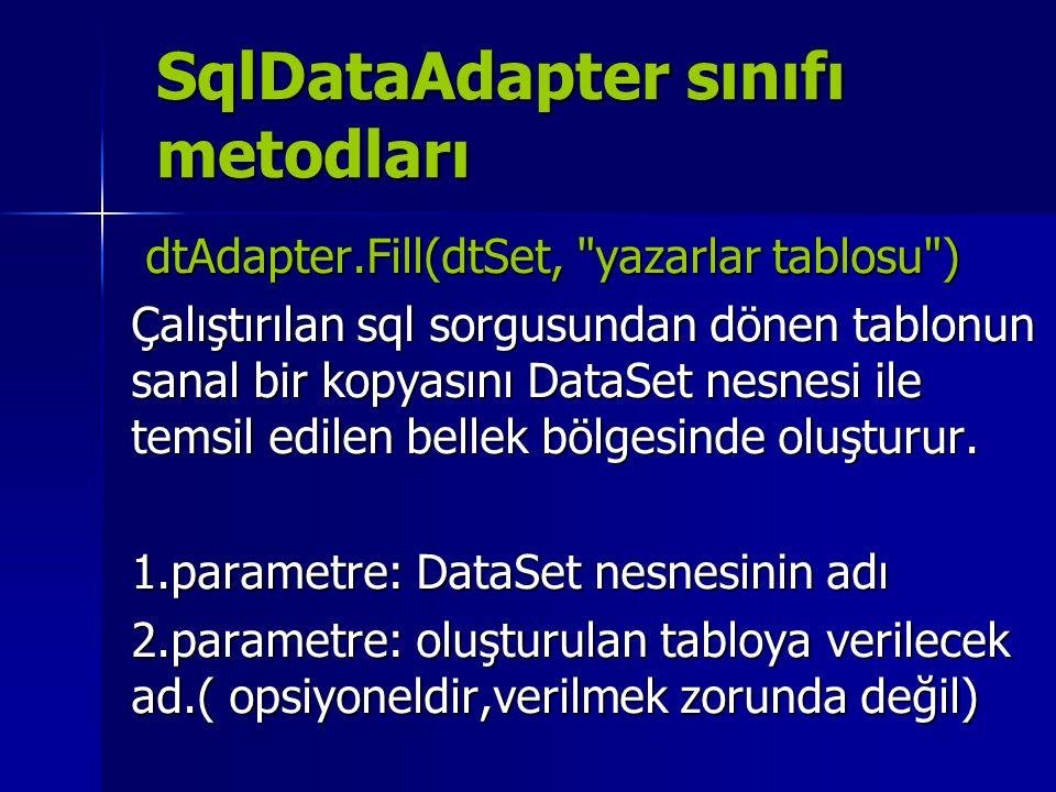 SqlDataAdapter sınıfı metodları dtAdapter.Fill(dtSet,