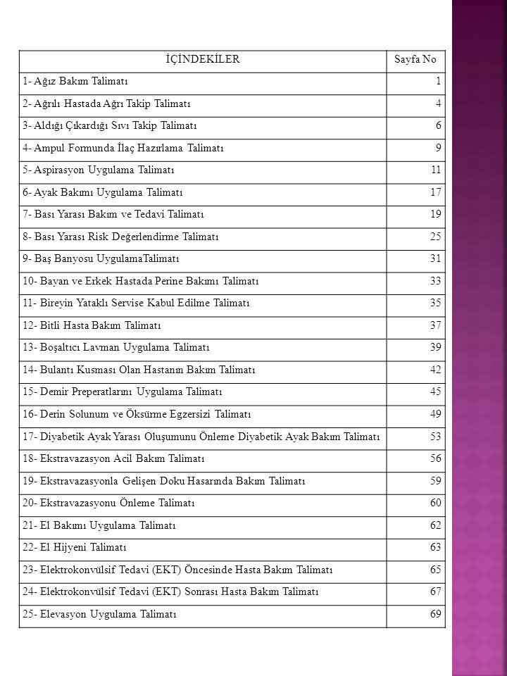 İÇİNDEKİLERSayfa No 1- Ağız Bakım Talimatı 1 2- Ağrılı Hastada Ağrı Takip Talimatı 4 3- Aldığı Çıkardığı Sıvı Takip Talimatı 6 4- Ampul Formunda İlaç Hazırlama Talimatı 9 5- Aspirasyon Uygulama Talimatı 11 6- Ayak Bakımı Uygulama Talimatı 17 7- Bası Yarası Bakım ve Tedavi Talimatı 19 8- Bası Yarası Risk Değerlendirme Talimatı 25 9- Baş Banyosu UygulamaTalimatı 31 10- Bayan ve Erkek Hastada Perine Bakımı Talimatı 33 11- Bireyin Yataklı Servise Kabul Edilme Talimatı 35 12- Bitli Hasta Bakım Talimatı 37 13- Boşaltıcı Lavman Uygulama Talimatı 39 14- Bulantı Kusması Olan Hastanın Bakım Talimatı 42 15- Demir Preperatlarını Uygulama Talimatı 45 16- Derin Solunum ve Öksürme Egzersizi Talimatı 49 17- Diyabetik Ayak Yarası Oluşumunu Önleme Diyabetik Ayak Bakım Talimatı 53 18- Ekstravazasyon Acil Bakım Talimatı 56 19- Ekstravazasyonla Gelişen Doku Hasarında Bakım Talimatı 59 20- Ekstravazasyonu Önleme Talimatı 60 21- El Bakımı Uygulama Talimatı 62 22- El Hijyeni Talimatı 63 23- Elektrokonvülsif Tedavi (EKT) Öncesinde Hasta Bakım Talimatı 65 24- Elektrokonvülsif Tedavi (EKT) Sonrası Hasta Bakım Talimatı 67 25- Elevasyon Uygulama Talimatı69