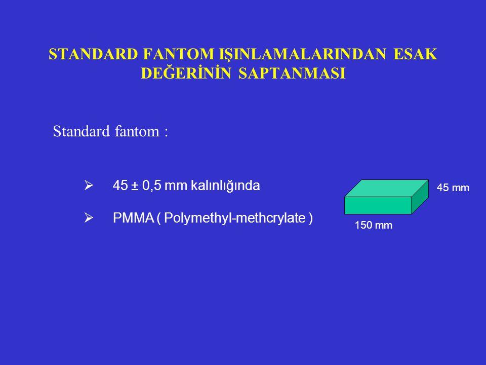 STANDARD FANTOM IŞINLAMALARINDAN ESAK DEĞERİNİN SAPTANMASI Standard fantom :  45 ± 0,5 mm kalınlığında  PMMA ( Polymethyl-methcrylate ) 150 mm 45 mm