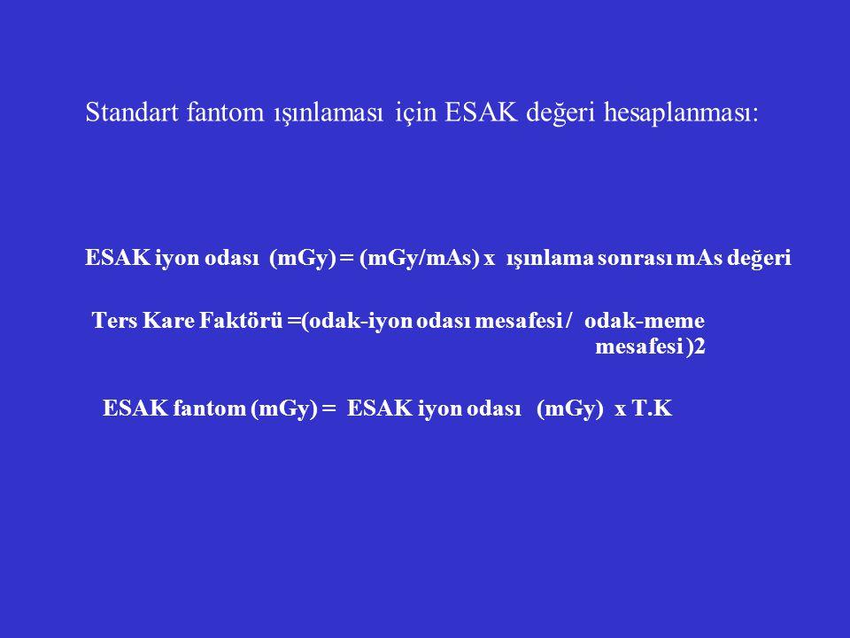 Standart fantom ışınlaması için ESAK değeri hesaplanması: ESAK iyon odası (mGy) = (mGy/mAs) x ışınlama sonrası mAs değeri Ters Kare Faktörü =(odak-iyo