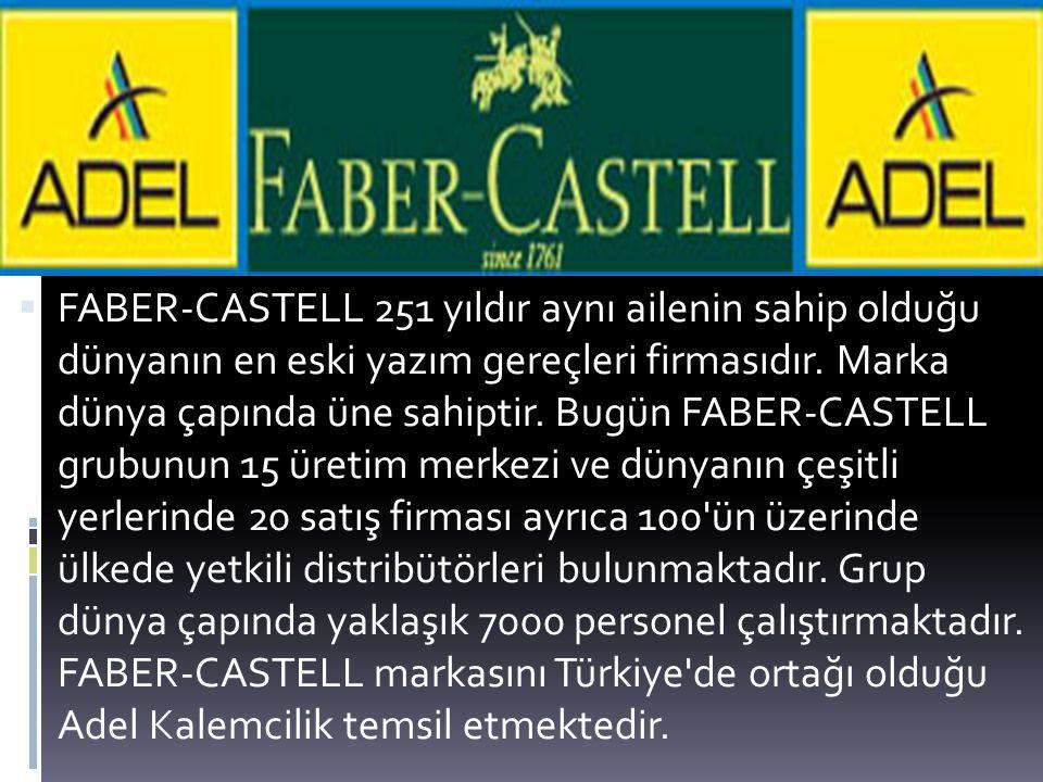  FABER-CASTELL 251 yıldır aynı ailenin sahip olduğu dünyanın en eski yazım gereçleri firmasıdır. Marka dünya çapında üne sahiptir. Bugün FABER-CASTEL