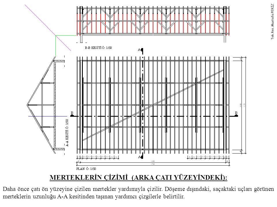 MERTEKLERİN ÇİZİMİ (ARKA ÇATI YÜZEYİNDEKİ): Daha önce çatı ön yüzeyine çizilen mertekler yardımıyla çizilir. Döşeme dışındaki, saçaktaki uçları görüne
