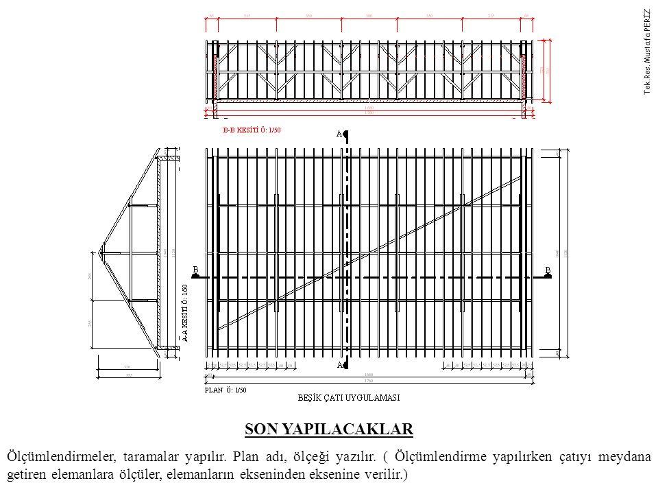 SON YAPILACAKLAR Ölçümlendirmeler, taramalar yapılır. Plan adı, ölçeği yazılır. ( Ölçümlendirme yapılırken çatıyı meydana getiren elemanlara ölçüler,