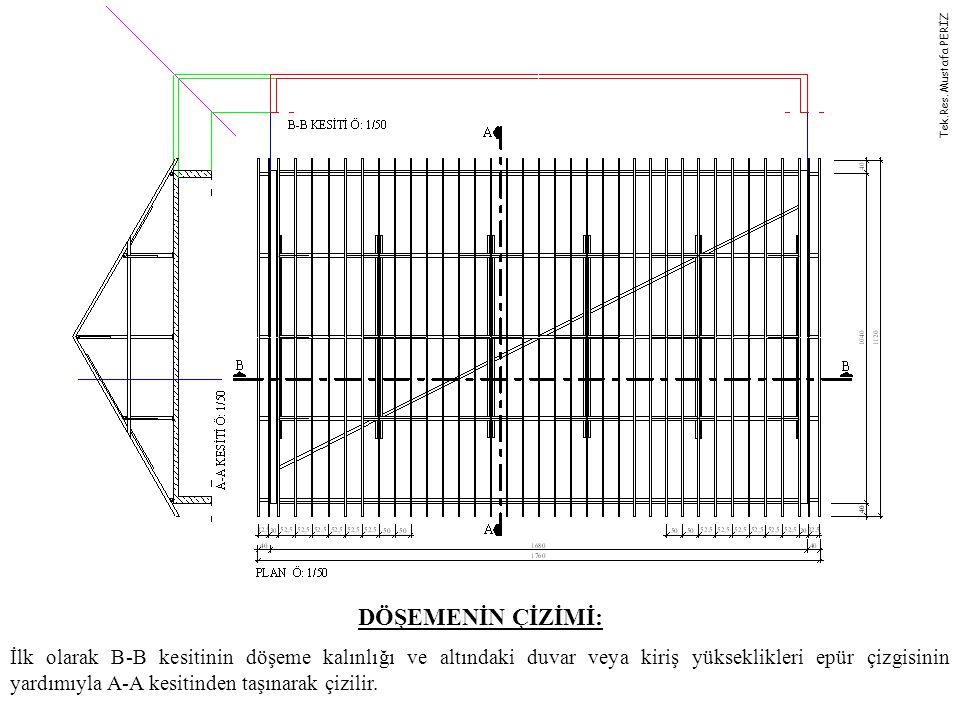 DÖŞEMENİN ÇİZİMİ: İlk olarak B-B kesitinin döşeme kalınlığı ve altındaki duvar veya kiriş yükseklikleri epür çizgisinin yardımıyla A-A kesitinden taşı