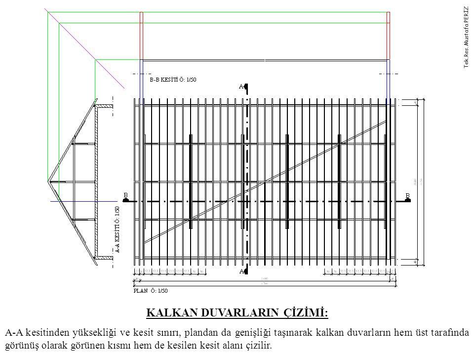 KALKAN DUVARLARIN ÇİZİMİ: A-A kesitinden yüksekliği ve kesit sınırı, plandan da genişliği taşınarak kalkan duvarların hem üst tarafında görünüş olarak görünen kısmı hem de kesilen kesit alanı çizilir.