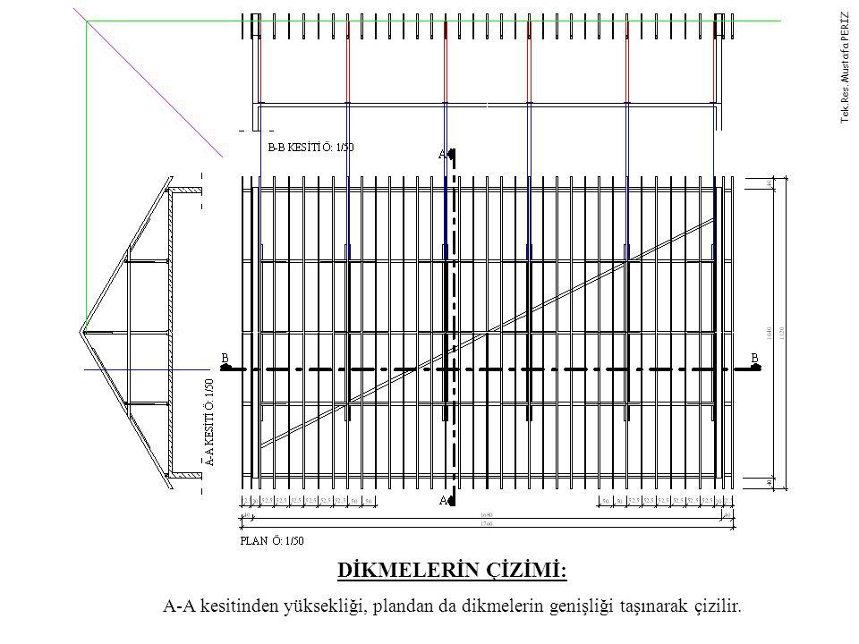 DİKMELERİN ÇİZİMİ: A-A kesitinden yüksekliği, plandan da dikmelerin genişliği taşınarak çizilir. Tek.Res. Mustafa PERİZ