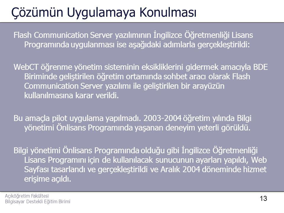 13 Çözümün Uygulamaya Konulması Flash Communication Server yazılımının İngilizce Öğretmenliği Lisans Programında uygulanması ise aşağıdaki adımlarla g