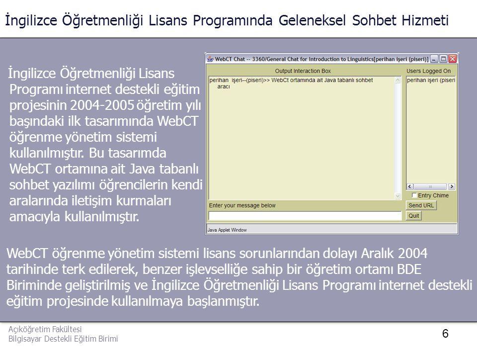 6 İngilizce Öğretmenliği Lisans Programında Geleneksel Sohbet Hizmeti İngilizce Öğretmenliği Lisans Programı internet destekli eğitim projesinin 2004-