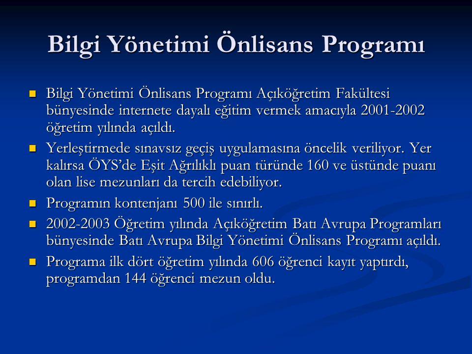 Bilgi Yönetimi Önlisans Programı Bilgi Yönetimi Önlisans Programı Açıköğretim Fakültesi bünyesinde internete dayalı eğitim vermek amacıyla 2001-2002 öğretim yılında açıldı.