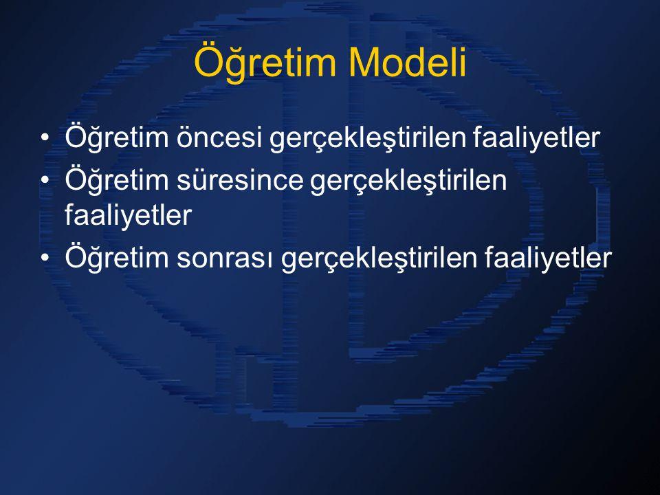 Öğretim Modeli Öğretim öncesi gerçekleştirilen faaliyetler Öğretim süresince gerçekleştirilen faaliyetler Öğretim sonrası gerçekleştirilen faaliyetler