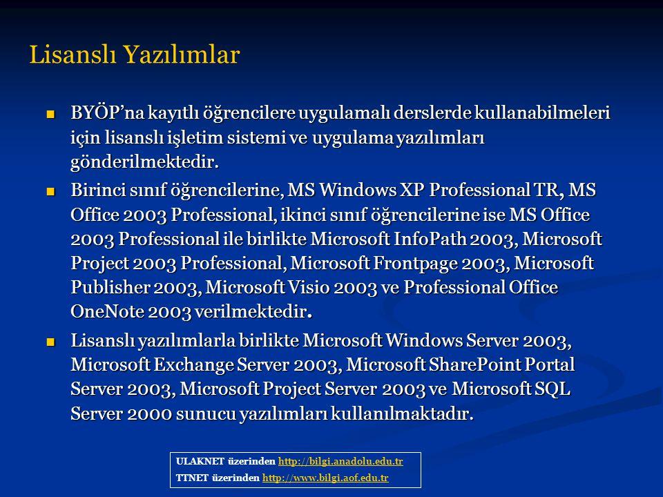 Lisanslı Yazılımlar ULAKNET üzerinden http://bilgi.anadolu.edu.trhttp://bilgi.anadolu.edu.tr TTNET üzerinden http://www.bilgi.aof.edu.trhttp://www.bil