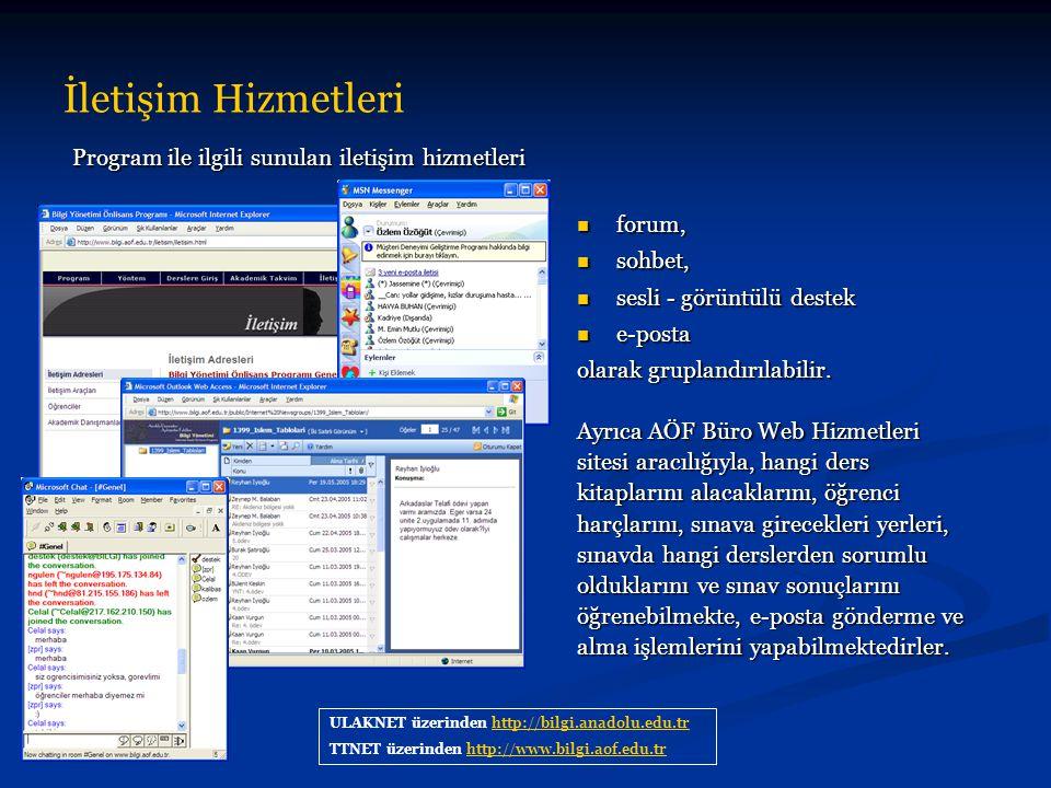 İletişim Hizmetleri ULAKNET üzerinden http://bilgi.anadolu.edu.trhttp://bilgi.anadolu.edu.tr TTNET üzerinden http://www.bilgi.aof.edu.trhttp://www.bil