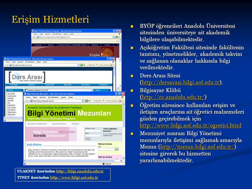 Erişim Hizmetleri ULAKNET üzerinden http://bilgi.anadolu.edu.trhttp://bilgi.anadolu.edu.tr TTNET üzerinden http://www.bilgi.aof.edu.trhttp://www.bilgi