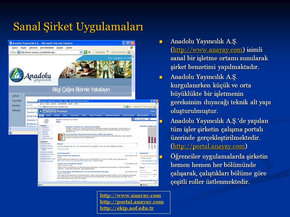 Sanal Şirket Uygulamaları Anadolu Yayıncılık A.Ş. (http://www.anayay.com) isimli sanal bir işletme ortamı sunularak şirket benzetimi yapılmaktadır. An