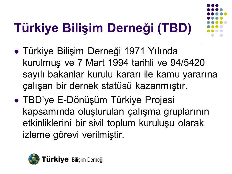 Türkiye Bilişim Derneği (TBD) Türkiye Bilişim Derneği 1971 Yılında kurulmuş ve 7 Mart 1994 tarihli ve 94/5420 sayılı bakanlar kurulu kararı ile kamu y