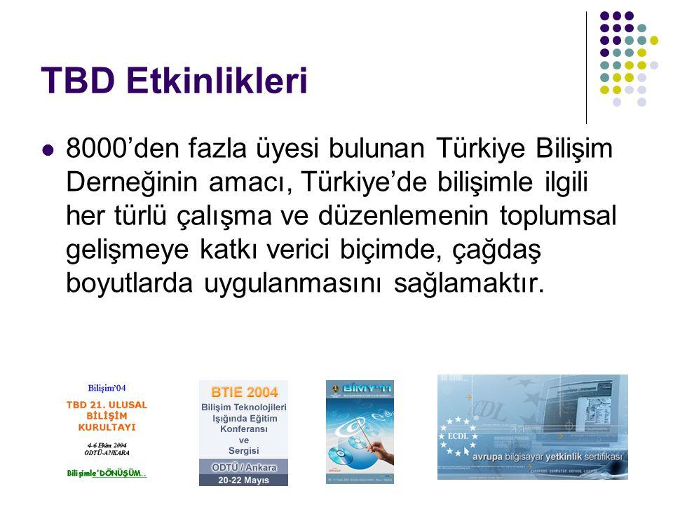 TBD Etkinlikleri 8000'den fazla üyesi bulunan Türkiye Bilişim Derneğinin amacı, Türkiye'de bilişimle ilgili her türlü çalışma ve düzenlemenin toplumsa