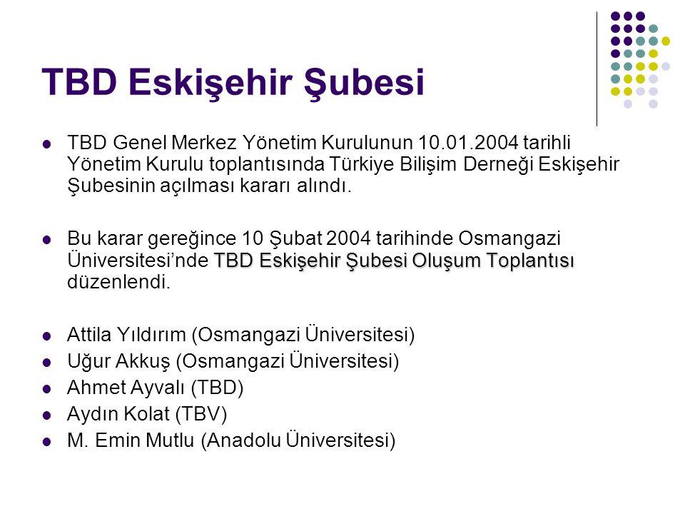 TBD Eskişehir Şubesi TBD Genel Merkez Yönetim Kurulunun 10.01.2004 tarihli Yönetim Kurulu toplantısında Türkiye Bilişim Derneği Eskişehir Şubesinin aç